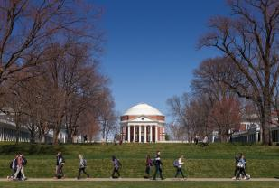 Students walking near UVA Rotunda